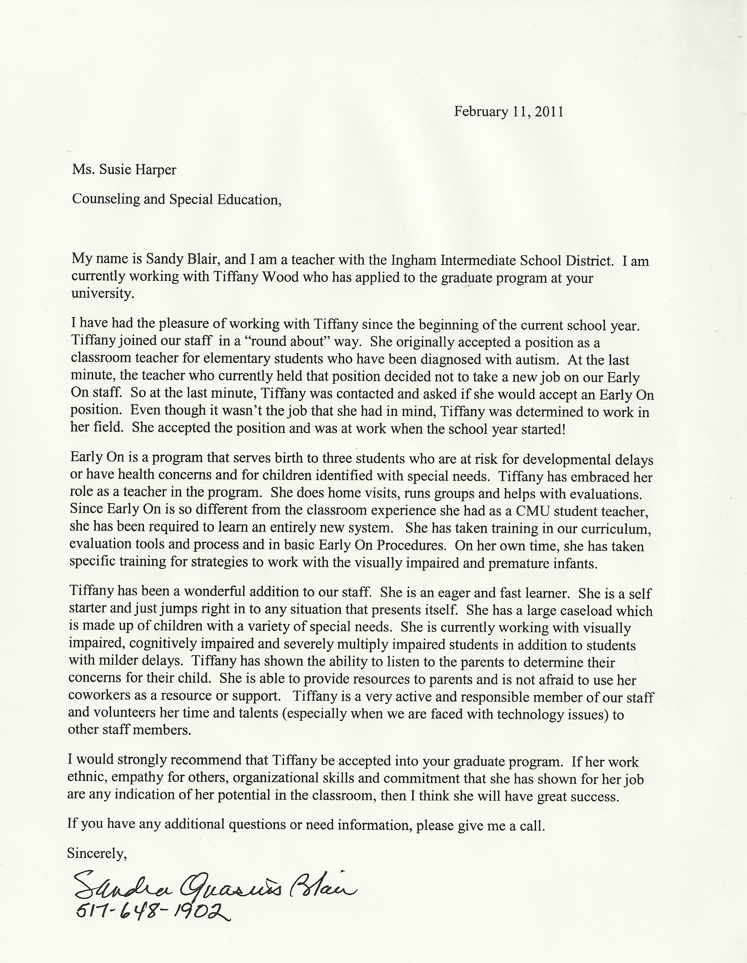 Letter of Recommendation for graduate school- Blair | Tiffany Wood's